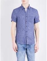 Brunello Cucinelli Striped Short-sleeved Pure Linen Shirt