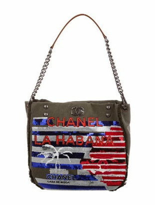 Chanel 2017 La Habana Canvas Sequin Hobo Khaki
