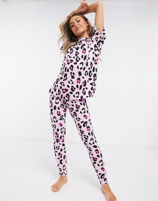 ASOS DESIGN tee & legging pyjama set in pink leopard print