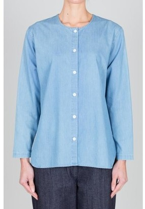 Folk Collarless Shirt Japanese Fabric Bleache Denim - 2
