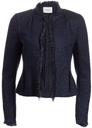 Akris Punto Tweed Fringe Trim Long-Sleeve Jacket