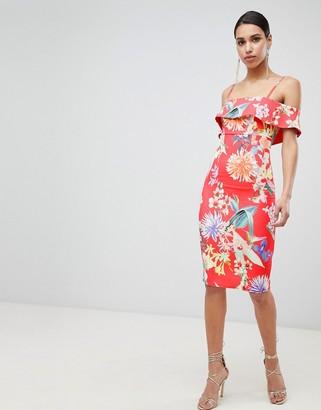 Lipsy printed bardot bodycon dress-Multi
