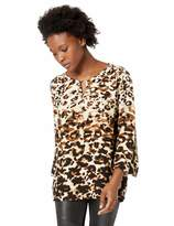 Ruby Rd. Women's Petite Size 3/4 Sleeve Keyhole Crepe top