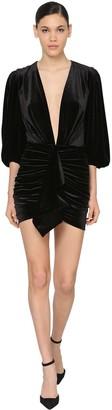 Alexandre Vauthier V Neck Draped Stretch Velvet Mini Dress