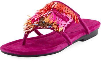 Donald J Pliner Kya Embellished Fringe Sandal