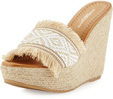 Charles David Dana Fringe Wedge Sandal, White