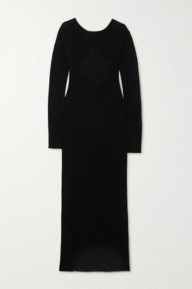 Helmut Lang Twisted Open-back Wool Maxi Dress - Black