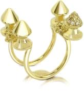Bernard Delettrez Four Studs Gold and Cognac Diamonds Ring