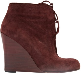 Christian Louboutin Burgundy Suede Ankle boots