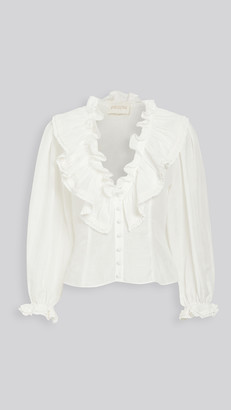 Divine Heritage Ruffle Neck Button Up Blouse