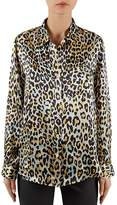 Gerard Darel Brian Leopard-Print Silk Shirt