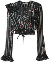 Preen Line ruffle trim wrap blouse