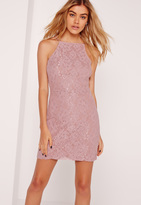 Missguided Square Neck Lace Bodycon Dress Lilac