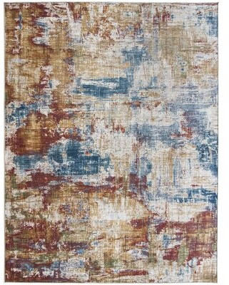 "Williston Forge Romina Abstract Flatweave Red/Blue Area Rug Rug Size: Rectangle 7'6"" x 9'6"""
