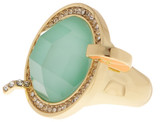Ariella Collection Enamel & Crystal Cocktail Ring - Size 6