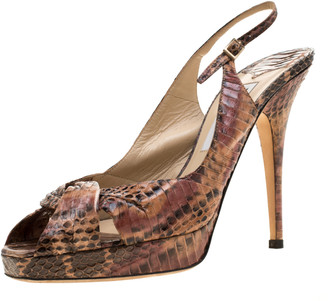 Jimmy Choo Two Tone Python Leather Open Toe Slingback Platform Sandals Size 38.5