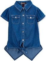 Dollhouse Medium Wash Denim Button-Up Hi-Low Top - Girls