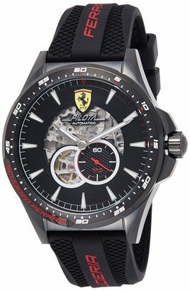 Scuderia Ferrari Mens Skeleton Automatic Watch with Silicone Strap 0830600