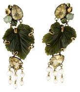 Iradj Moini Pearl & Multistone Leaf Chandelier Earrings