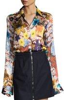 Acne Studios Buse Floral Long-Sleeve Boyfriend Shirt, Pink Pattern