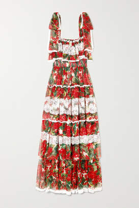 Dolce & Gabbana Tiered Lace-paneled Floral-print Silk-blend Voile Gown