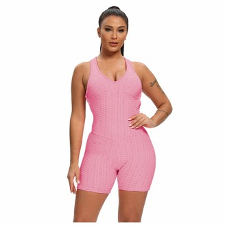 So Buts Women Pants SO-buts Sports Bodycon Jumpsuits Women Low Cut Jumpsuit Playsuit for Ladies Ruched Leggings One Piece Rompers Sexy Clubwear Yoga Pants (Pink S)