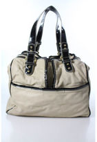 Badgley Mischka Tan Black Patent Leather Trim Medium Size Shoulder Handbag