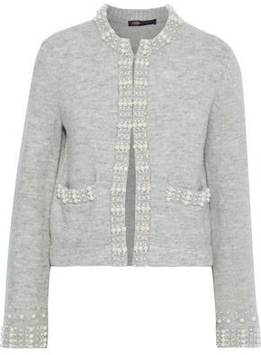 Maje Faux Pearl-embellished Brushed Ribbed-knit Cardigan