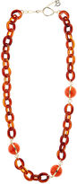 Diana Broussard Orange & Tortoiseshell Ball & Chain Necklace