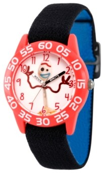 EWatchFactory Boy's Disney Toy Story 4 Forky Black Plastic Time Teacher Strap Watch 32mm