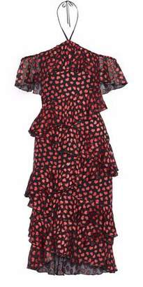 Alice + Olivia Off-the-shoulder Ruffled Printed Fil Coupe Chiffon Halterneck Dress