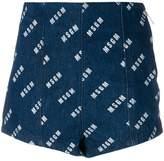 MSGM denim logo print shorts