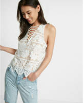 Express Lace-up All-over Lace Tank