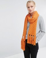 Cheap Monday Oversized Knitted Scarf with Tassels in Orange