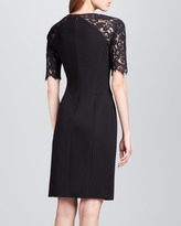 Rebecca Taylor Lace-Sleeve Fitted Dress
