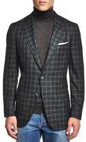 Isaia Windowpane Cashmere-Blend Sport Coat, Green