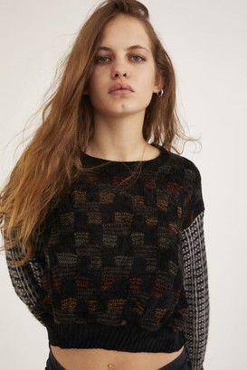 Urban Renewal Vintage Recycled Pieced Print Cropped Sweater
