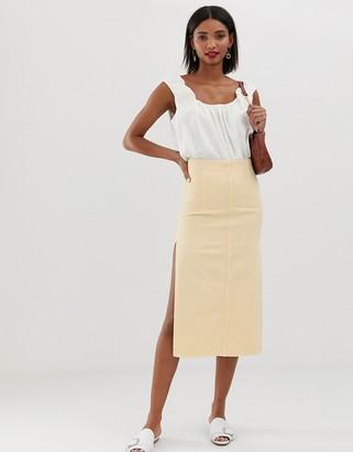 Asos DESIGN denim high waisted seam detail midi skirt