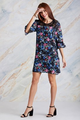 Yumi Black Ditsy Floral Tunic Dress