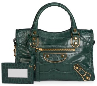 Balenciaga Mini City Croc-Embossed Leather Satchel