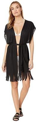 Becca by Rebecca Virtue Breezy Basics Belted Fringe Kimono Cover-Up