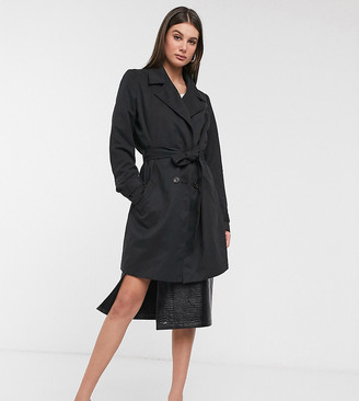 Vero Moda Tall tailored mac in black