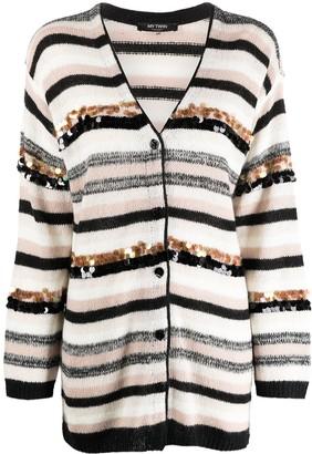 Twin-Set Sequin-Embellished Striped Cardigan