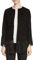 Maje Loyal Fringe-Trim Suede Jacket
