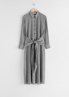 And other stories Gingham Waist Tie Midi Dress