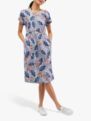 White Stuff Mark Leaf Print Linen Dress, Pelican Blue