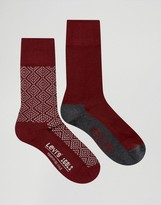 Levis Levi's Socks In 2 Pack Geo Red