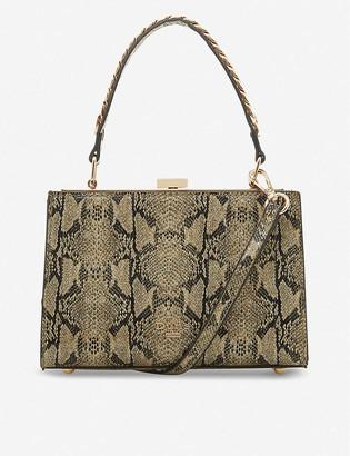 Dune Dinkydlady snake-embossed woven shoulder bag