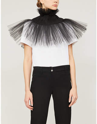 NABIL NAYAL Collar cotton-jersey and tulle T-shirt