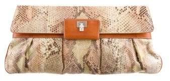 Lambertson Truex Python Leather-Trimmed Clutch